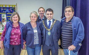 Mayor of Bishop Auckland, Cllr Adam Zair, with show organisers, Chris Davidson (Back), Joan Hogg, Liz Drake (middle) and Trevor Hogg.