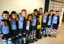 St Mary's U11 Kings in the tunnel at Bishop Auckland FC's Heritage Park where they were mascots for the day