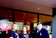 Cllr Peter Quinn, fundraising for the Poppy Appeal with Emily Snowball and Rebecaa Scott from Costa Coffee