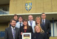 The Digital Durham team on the steps of County Hall.