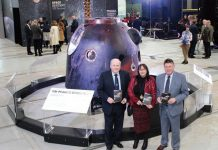 Shildon Deputy Town Mayor, Luan Deakin, is joined at the Soyuz capsule by Shildon and Dene Valley County Councillor, Brian Stephens and County Cllr Ossie Johnson, portfolio holder for Tourism, Culture, Leisure and Rural Issues. Photo: Tom Clegg.