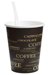 paper coffee mug with plastic stirrer