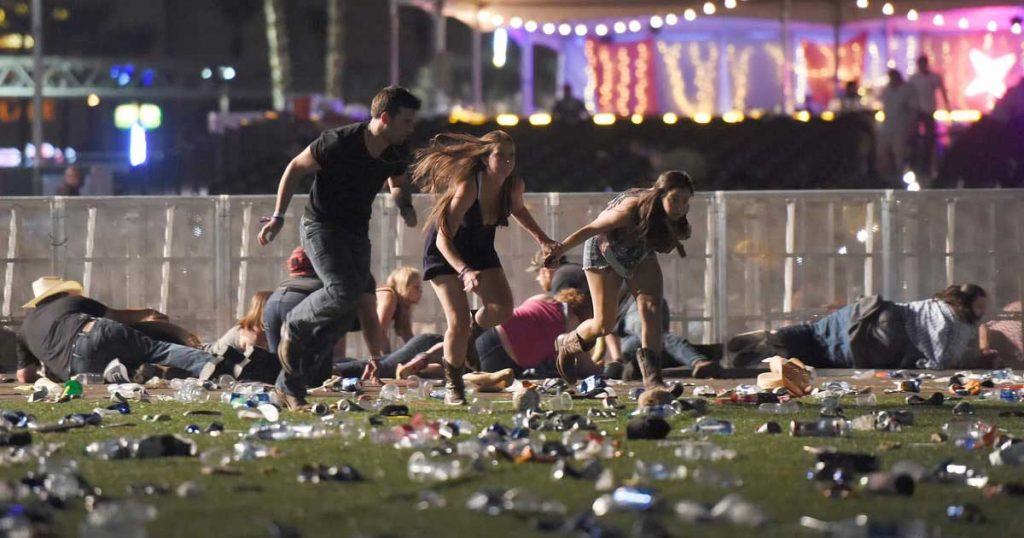 Terrified concert goers hide as terrorist Stephen Paddock shoots at random targets