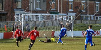 Shildon AFC's Adam Burnicle (9) scores against Penrith