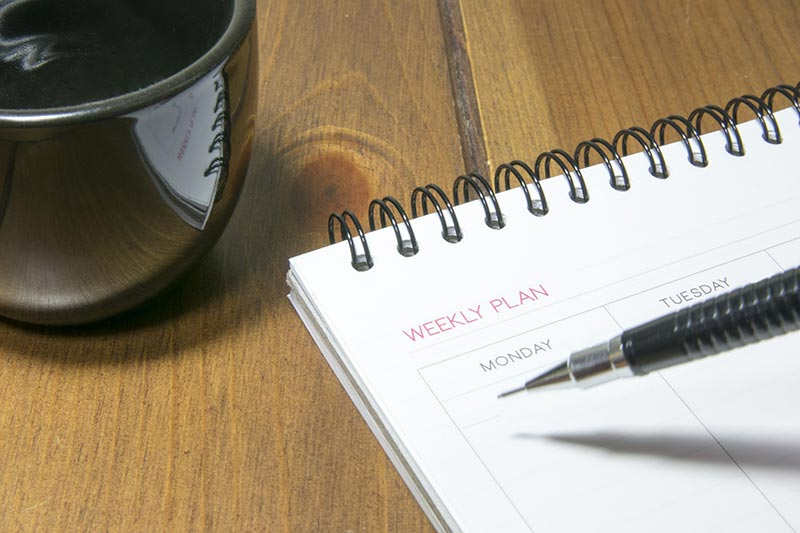 Weekly or monthly planners can be bought cheaply or printed as and when required.