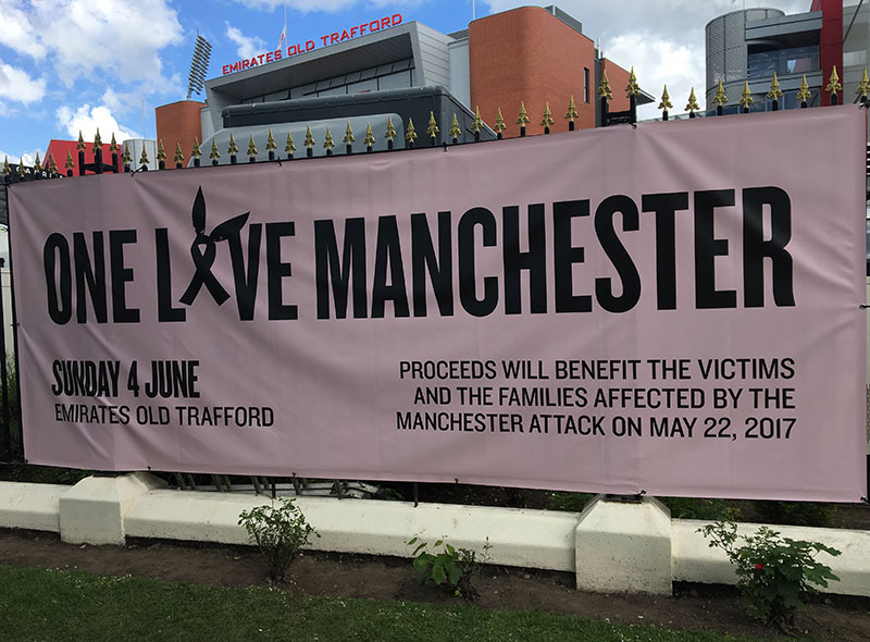 Surviving Manchester: one year on - One Love Manchester concert banner