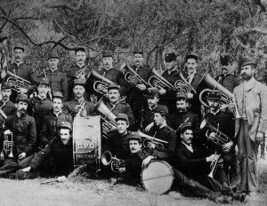 Thomas Bulch (far right holding a cornet) with his Melbourne GPO military band.