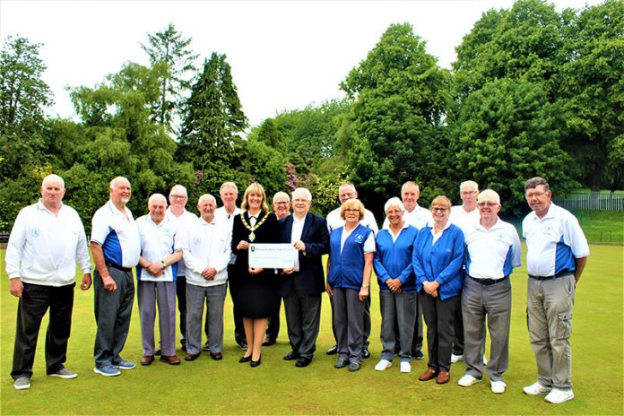 Town Mayor, Cllr Joy Allen presenting the Community Fund grant to members of Bishop Auckland Bowling Club. Photo: Christine Percival.