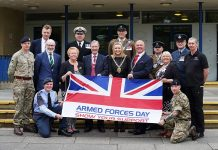 Cllr Audrey Laing, Cabinet support member for adult and health services; Professor John Anstee, Deputy Lord Lieutenant for County Durham; Cllr Katie Corrigan, Chairman of the council; Dr Bill Moir, the Chairman's consort; and Cllr Lucy Hovvels, Cabinet member for adult and health services and armed forces champion with representatives from the armed forces including council employee reservists.