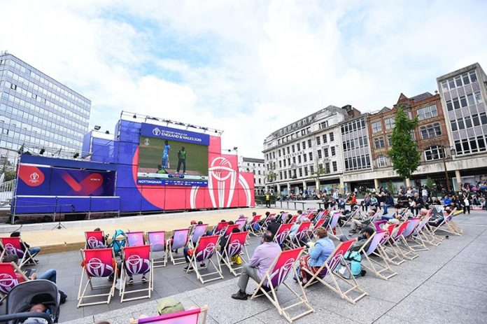 A Cricket World Cup fanzone in Nottingham.
