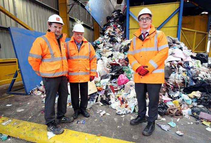 Jack Wilkinson, operations manager at BIFFA, with Cllr Brian Stephens, Cabinet member for neighbourhoods and local partnerships at Durham County Council, and Oliver Sherratt, the council's head of environment, at the BIFFA plant in Washington, where recycling from County Durham is processed.