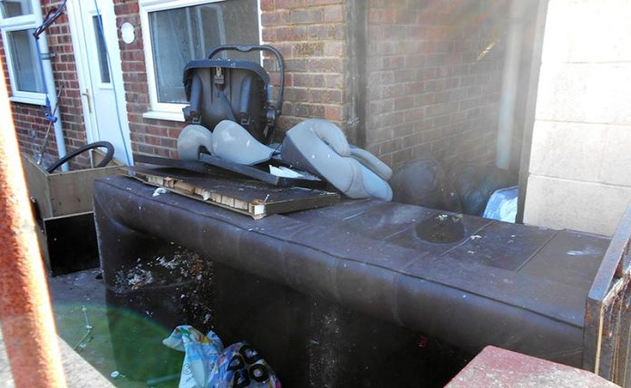 Some of the rubbish left outside of Sharon Boardman's property.