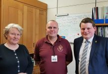 Helen Goodman MP with Spennymoor Cricket Club secretary Alan Jones and club president, Ian Geldard.