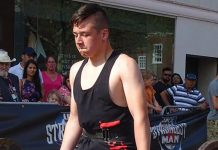 Spennymoor's Lewis Askwith in action at UK Strongest Kid 2019 in St Albans during the Easter weekend.
