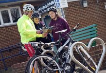 Neil Stephenson, Eileen Stephenson and Mae Stephenson. The family are all keen cyclists and library users.