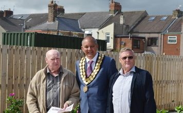 Tommy Shaw (Allotment secretary) Clive Maddison (Spennymoor Mayor) and Lawrence Dunnett (Allotment Chair).