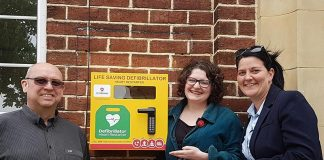 Cllr Stuart Dunn, Cllr Maura McKeon and Nicola Dodsworth with one of the new defibrillators.