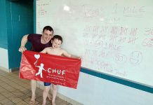 Jacob with coach, Will Coulson and the details of his 2000m swim.