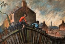 Boys Climbing Fence, Norman Cornish. Copyright: © Estate of Norman Cornish. Courtesy of Mining Art Gallery, The Auckland Project.