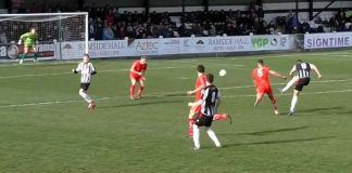Glen Taylor (9) lets fly from 25 yards to score his 28th goal of the season against Alfreton last Saturday. However, a late penalty would see the visitors claim a share of the points. Image: Moors TV.