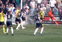 Glen Taylor heads past the despairing dive of Chorley's Matt Urwin to notch his 30th goal of the season. Image: Spennymoor TV.