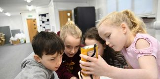 Members of the Young Archaeologists' Club learn how to use a Magnetic Susceptibility Meter. Photo: Barry Pells, courtesy of The Auckland Project.