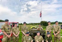 Cadets and staff with the WW2 jeep.