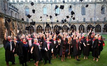 Bishop Auckland College students celebrate their graduation at the ceremony at Durham Cathedral.