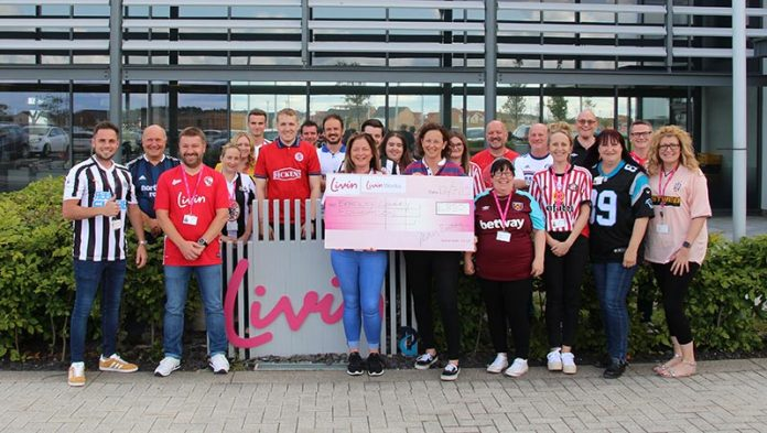 Staff at Livin raised funds for the Bradely Lowery Foundation by wearing their favourite football top to work.
