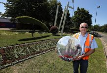 Graham Cozens, Clean and Green team leader with the spectacular floral display at Durham County Cricket Club.