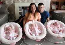 Mam, Stephanie Latcham, dad Michael Gough and the identical triplets, Ollie-Anna, Isabella and Brianna.