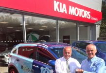 Bishop Auckland chairman, Steve Coulthard (right) accepting keys to the car from Stoneacre Kia.