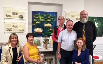 Artist Eric Thompson and daughter Lynn with members of the Bishop Auckland and Coundon In Bloom team.