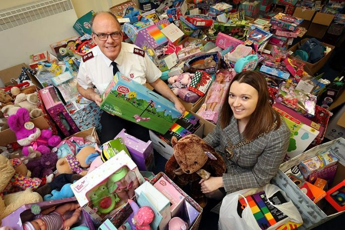 Council Chairman Cllr Katie Corrigan sorting gifts at the Salvation Army Hall, Consett.
