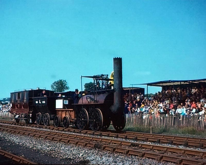 Slide showing the replica Locomotion leading the 150th anniversary cavalcade at Shildon in 1975.