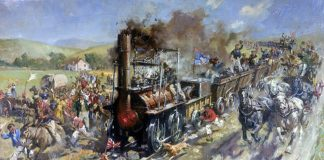 Terence Cuneo's painting of Locomotion's historic first passenger carrying run in 1825