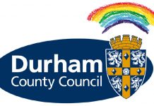 Durham County Council logo with rainbow