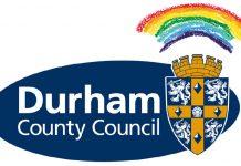 Durham County Council logo with rainbow