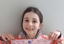 Maisy Newby-Higgingbottom, aged 7, has a climate change message for the world.