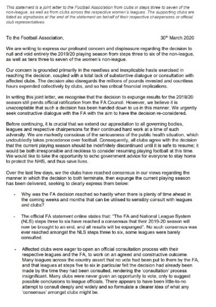 Letter to the FA from Non-League Chairmen, page 1