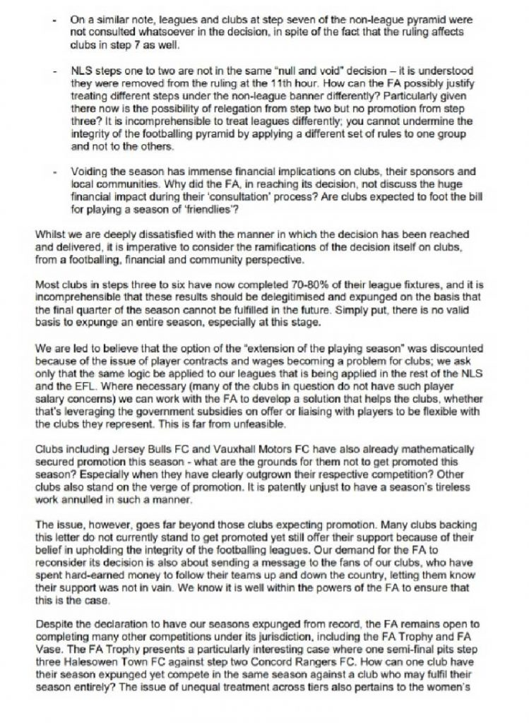 Letter to the FA from Non-League Chairmen, page 2