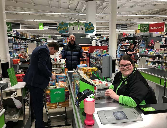 Asda provided a dedicated check-out staffed by Rachel.