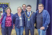 Mayor of Bishop Auckland, Cllr Adam Zair, with show organisers, Chris Davidson (Back), Joan Hogg, Liz Drake (middle) and Trevor Hogg.