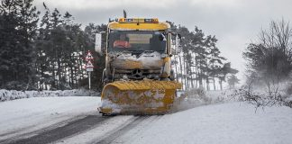 A Durham County Council snowplough tackles the Beast From The East