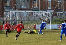 Shildon AFC's Adam Burnicle (9) scores against Penrith