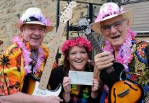 The Babe Magnets, Jim Tait and Alan Prudhoe present Dementia Care Worker, Rowena Carr with a cheque for £1,500.