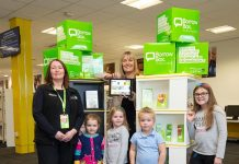 Karen Milburn Duty Officer at Newton Aycliffe Library, Lilly Frith aged 3 from Shildon, Lacey Hobson aged 5 from Newton Aycliffe, Cllr Joy Allen Cabinet member for transformation Laina Hooper aged 3 from Chilton and Sophie Hobson aged 8 from Newton Aycliffe.