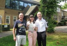 Ian Larnach, Jade McArdle and George Courtney MBE at St Cuthbert's Hospice.
