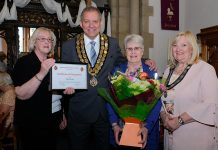 Mayor of Spennymoor and his consort, Cllrs Clive and Liz Maddison present the award to Carole Irving. Left is Cllr Christine Sproat, who nominated Carole for the award. Picture: Keith Taylor.