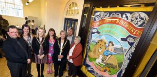 Left to right: Michael Millmore, Morrison Lodges Banner Group; Louise Smith, library operations officer; Cllr Katie Corrigan, Durham County Council Chairman; Cllr Jeanette Stephenson; Cllr Carole Hampson, Mayor of Stanley Town Council; Alan Mardghum, President/Secretary of the Durham Miner's Association and Cllr Joan Nicholson.